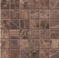 2x2 Emperador Dark Marble Square Pattern Tumbled Finish Mosaic Tile