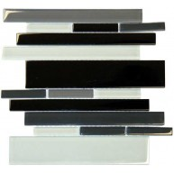 RSP Random Black Blend Crystallized Glossy Glass Mosaic Tiles