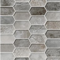 Savoy Picket Pattern 8mm Crystallized Glass Mosaic Tile
