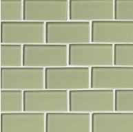 2x4 Mint Green Subway Glass Mesh-Mounted Mosaic Tile