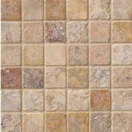 2x2 Scabos Travertine Square Pattern Tumbled Finish Mosaic Tile