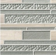 Aria Interlocking Pattern 12x18x8mm Glass Stone Blend Mosaic Tile