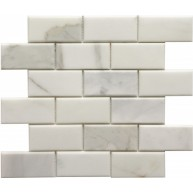 2×4 Calacutta Bevel Brick Pattern Polished Mosaic Tile by Soci