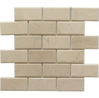 2×4 Crema Marfil Bevel Brick Pattern Polished Mosaic Tile by Soci