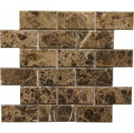 2×4 Dark Emperador Bevel Brick Pattern Polished Mosaic Tile by Soci