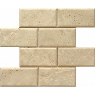 3×6 Ivory Pillow Edge Subway Pattern Honed Mosaic Tile by Soci