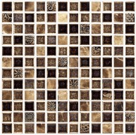 1x1 Dark Emperador Stone Mixed with Crackle Glass and Resin Decor Mosaic Tile