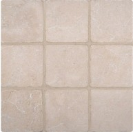 4x4 Crema Marfil Marble Square Pattern Tumbled Mosaic Tile