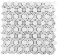 Waterjet Thassos White and Grey Polished Marble Mosaic Tile