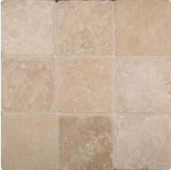 4x4 Tuscany Ivory Travertine Square Pattern Tumbled Finish Mosaic Tile