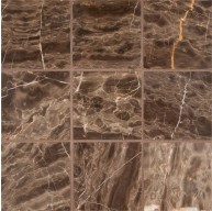 4 in.x 4 in.Emperador Cafe Marble Square Pattern Tumbled Mosaic Tile