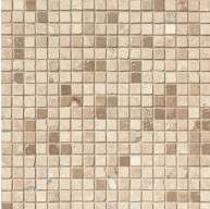 5/8x5/8 Noce Chiaro Travertine Square Pattern Honed MosaicTile