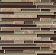1/2 in. x Random Strip Aspen Interlocking Glass Stone Blend Mosaic Tile