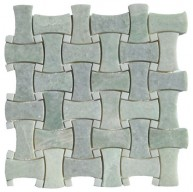 Ming Green Marble Basketweave Curved/Dogbone with White Dot Polished Mosaic Tile
