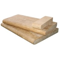 4 in. x 12 in. Tuscany Walnut Brushed Travertine Coping Tile (Each Sqft. = 3 Pieces)