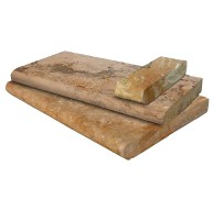 4 in. x 12 in. Tuscany Porcini Brushed Travertine Coping Tile (1 Sqft = 3 Pcs)