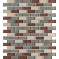 Vintrav sienna & grey 1/2 in. x 2 in. dessert red glass bricks pattern mosaic tile
