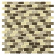 Multi Mixed Brick 11-1/4 in. x 11-3/4 in. x 4 mm Glass and Stone Mosaic Wall Tile