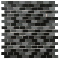 Black-Grey Mixed Brick 11-1/4 in. x 11-3/4 in. x 4 mm Glass and Stone Mosaic Wall Tile