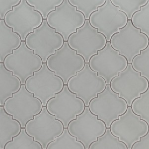 Morning Fog Grey Arabesque 10.83x15.5 Lantern Ceramic Mosaic Tile