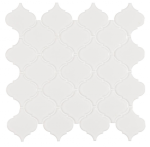 11 in. x 11 in. White Glossy Arabesque Porcelain Mosaic Tile