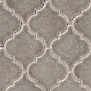 Dove Gray Arabesque Lantern Pattern Ceramic Mosaic Tile