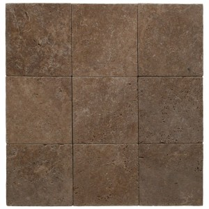 Noce 6X6 Tumbled Travertine Pavers Tile for or Driveway, Pool Deck and Patio (Each Sqft. = 4 Peices)