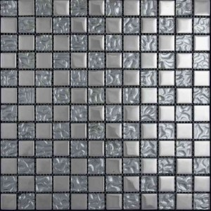 1x1 Reflections Nickel Grey and Metal Glass Mesh Mounted Mosaic Tile