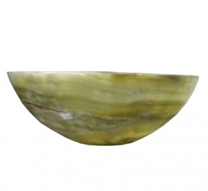 14 in. Green Onyx Contemporary Round Vessel Style Above Vanity Bathroom Sink