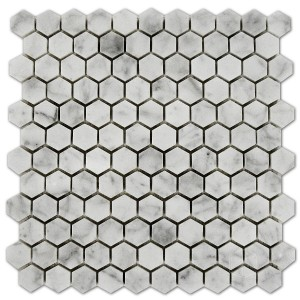Bianco Carrara 1x1 Hexagon Polished Marble Mosaic Tile