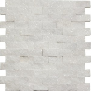 Bianco White Carrara Marble 1x2 Brick Split Face Mosaic Mesh Mounted Tile