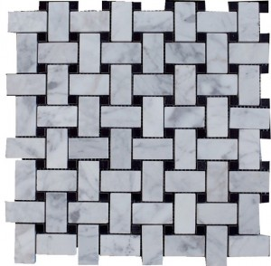Bianco White Carrara Marble with Black Dot Polished Basketweave Tile