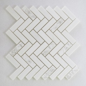 White With White Flower 1x3 Herringbone Dolomite Marble Mosaic Tile