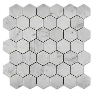 Bianco Carrara 2x2 Hexagon Polished Marble Mosaic Tile