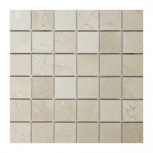 Crema Marfil Polished Marble Mosaic Tile | 2 in. x 2 in. | Floor | Wall | Accent | Backsplash | Shower
