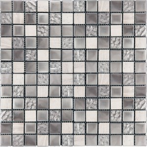 1x1 Blaze Platinum Silver and Grey Glass & Stone Mosaic Tile