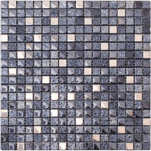 0.6x0.6 Night Sky Multi Color Glass and Metal Mesh Mounted Mosaic Tile