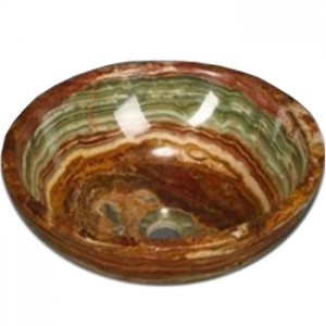16 in. Multi Green Onyx Contemporary Round Vessel Style Above Vanity Bathroom Sink
