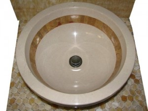 16 inch Sink Crema Verona Marble Contemporary Round Drop In Sink
