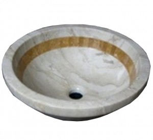 16 inch Sink Sahara Gold Marble Contemporary Round Drop In Sink