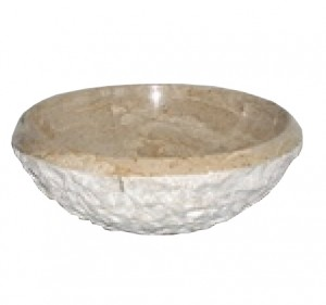 16 in. Contemporary Round Tervera Marble Chiseled Vessel Style Drop In or Above Vanity Bathroom Sink