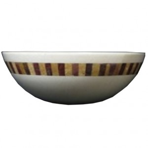 16 in. Contemporary Round Verona Marble Vessel with Inca Gold Marble / Red Oynx Style Above Vanity Bathroom Mosaic Sink