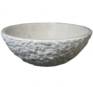 16 in. Contemporary Round Italian Verona Marble Chiseled Vessel Style Above Vanity Bathroom Sink