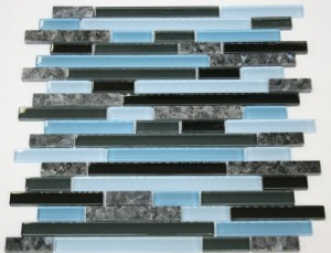 Laguna Blue Random Pattern Glass Tile & Granite Tile; Color: Black & Blue Pearl Granite
