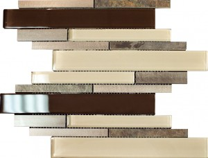 "2 7/8"" x 5/8"" Newport beige lace blend aluminium slate brown & beige glass mosaic tile"