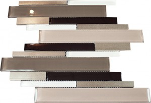 "2 7/8"" x 5/8"" Newport porch grey blend aluminium & beige brown & white glass mosaic tile"