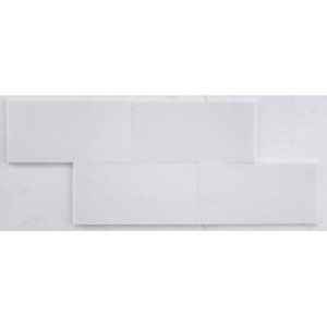 12 in. x 24 in. Thassos White Marble Brick Pattern Polished Mosaic Tile