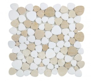 Aphrodite Thassos White & Crema Marfil Marble in Heart Shape Mosaic Tile | Kitchen | Bathroom | Shower | Wall | Floor | Backsplash | Accent Wall