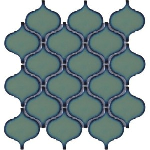 9.75x9.75 Arabesque Pattern Green Porcelain Mosaic Tile