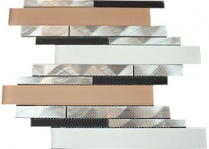 "2 7/8"" x 5/8"" Newport brown blend aluminium & white beige black glass mosaic tile"